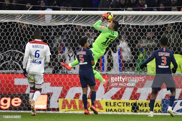 Paris SaintGermain's French goalkeeper Alphonse Areola catches the ball during the French L1 football match between Olympique Lyonnais and ParisSaint...