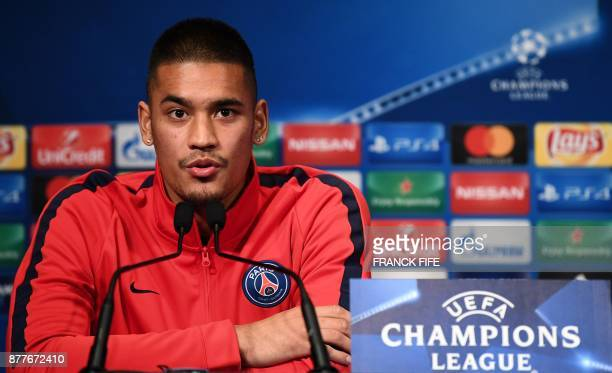 Paris SaintGermain's French goalkeeper Alphonse Areola gives a press conference at the Parc des Princes stadium in Paris on November 21 on the eve of...