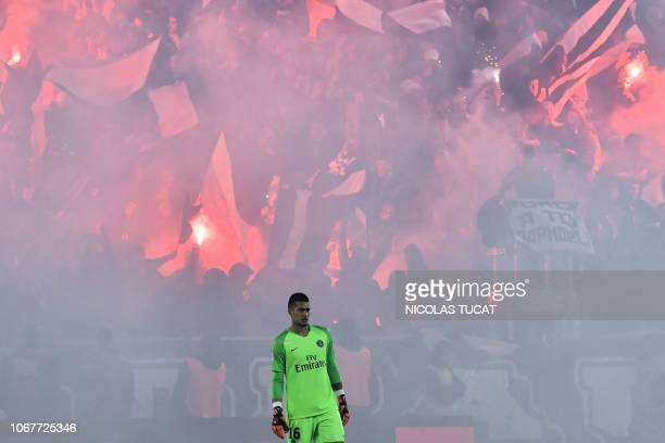 Paris SaintGermain's French goalkeeper Alphonse Areola is seen during the French L1 football match Bordeaux vs Paris SaintGermain on December 2 2018...