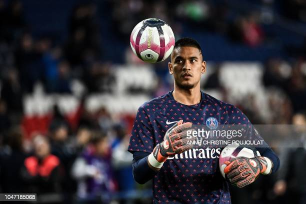 Paris SaintGermain's French goalkeeper Alphonse Areola joggles with a ball prior to the French L1 football match between Paris SaintGermain and...