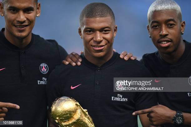 TOPSHOT Paris SaintGermain's French goalkeeper Alphonse Areola Paris SaintGermain's French forward Kylian Mbappe and Paris SaintGermain's French...