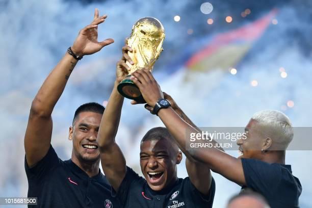 Paris SaintGermain's French goalkeeper Alphonse Areola Paris SaintGermain's French forward Kylian Mbappe and Paris SaintGermain's French defender...