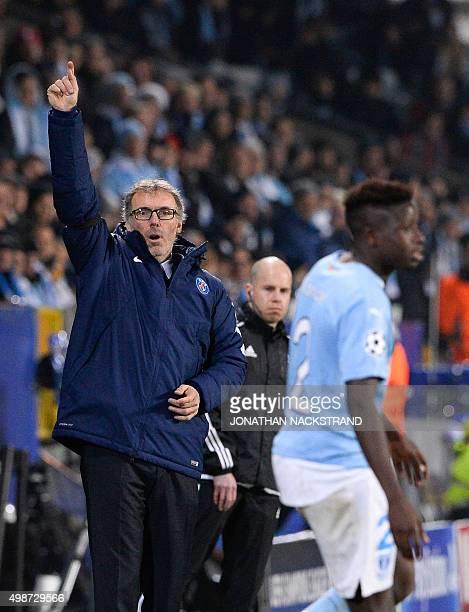 Paris SaintGermain`s French head coach Laurent Blanc reacts during the UEFA Champions League Group A secondleg football match Malmo FF vs Paris...
