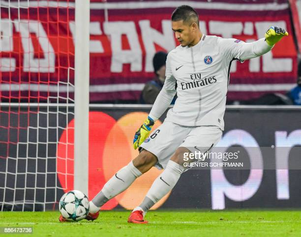 Paris SaintGermain's French keeper Alphonse Areola during the UEFA Champions League football match between Paris SaintGermain and Bayern Munich on...