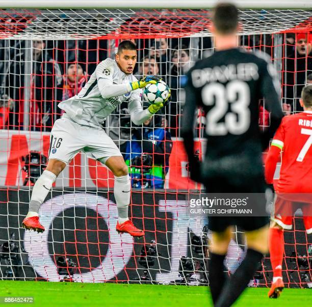 Paris SaintGermain's French keeper Alphonse Areola saves a ball during the UEFA Champions League football match between Paris SaintGermain and Bayern...