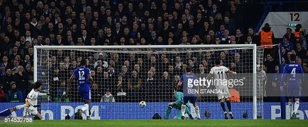 Paris SaintGermain's French midfielder Adrien Rabiot scores the opening goal during the UEFA Champions League round of 16 second leg football match...