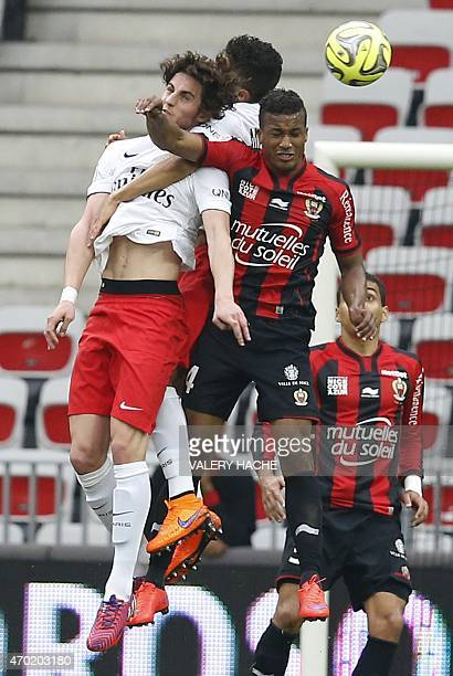 Paris SaintGermain's French midfielder Adrien Rabiot vies with Nice's forward Mohamed Benrahma during the French L1 football match between Nice and...