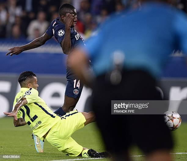 Paris SaintGermain's French midfielder Blaise Matuidi scores during the UEFA Champions League football match Paris SaintGermain vs Barcelona on...