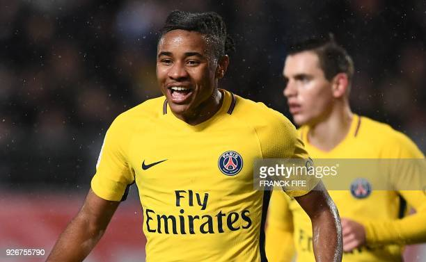 Paris SaintGermain's French midfielder Christopher Nkunku during the French L1 football match between Troyes and Paris SaintGermain at the Aube...