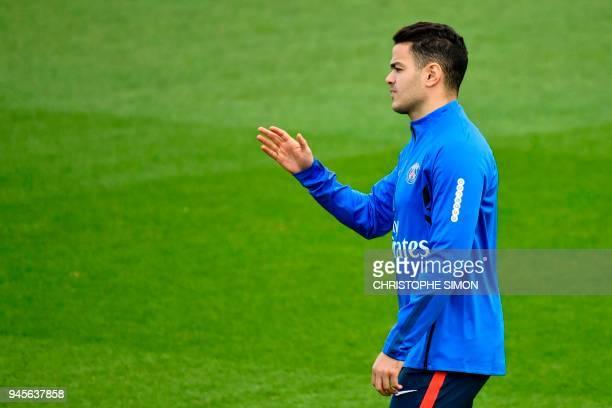 Paris SaintGermain's French midfielder Hatem Ben Arfa gestures during a training session in SaintGermainenLaye western Paris on April 13 two days...