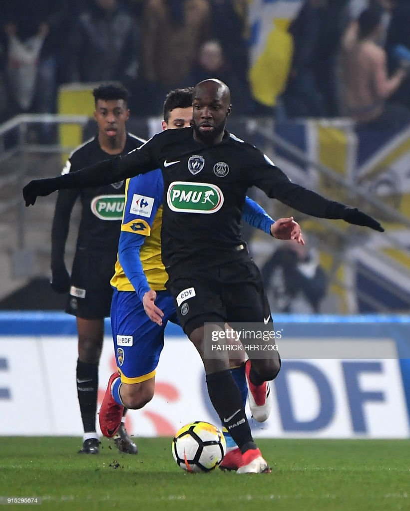 Paris Saint-Germain's French midfielder Lassana Diarra controls the ball during the French Cup football match between Sochaux (FCSM) and Paris Saint-Germain (PSG) at the Auguste Bonal Stadium in Montbeliard, eastern France on February 6, 2018. /