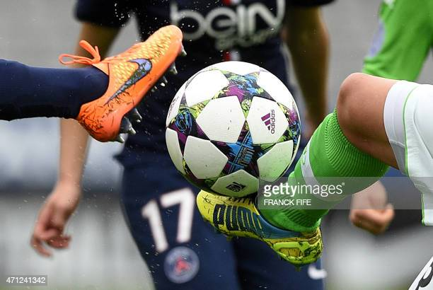 Paris SaintGermain's French players vies with Wolfsburg's players during the UEFA Women's Champions League semifinal second leg football match...
