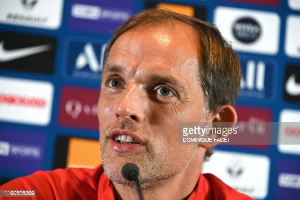 Paris SaintGermain's German coach Thomas Tuchel addresses a press conference of French L1 football club Paris SaintGermain in SaintGermainenLaye near...