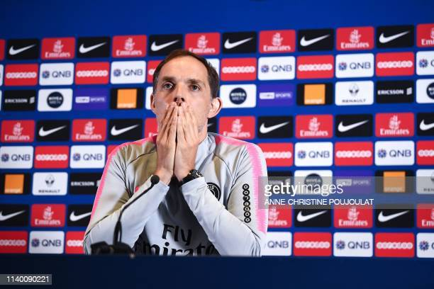 Paris SaintGermain's German coach Thomas Tuchel answers questions during a press conference at the club's Camp des Loges in SaintGermainenLaye near...
