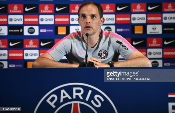 Paris SaintGermain's German coach Thomas Tuchel attends a press conference at the club's Camp des Loges training grounds in SaintGermainenLaye near...