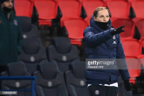 Paris Saint-Germain's German coach Thomas Tuchel gestures during the UEFA Champions League group H football match between Paris Saint-Germain and...