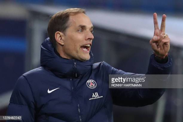 Paris Saint-Germain's German coach Thomas Tuchel reacts from the sidelines during the UEFA Champions League Group H football match RB Leipzig v Paris...