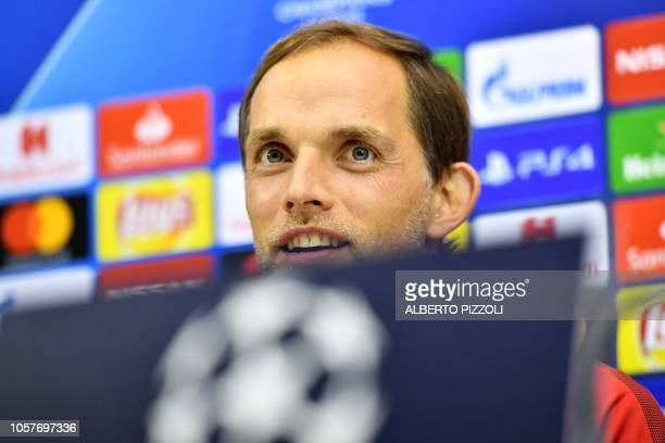 Paris SaintGermain's German coach Thomas Tuchel speaks during a press conference at the San Paolo stadium in Naples on November 5 2018 on the eve of...