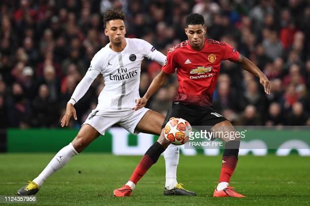 Paris SaintGermain's German defender Thilo Kehrer vie with Manchester United's English striker Marcus Rashford during the first leg of the UEFA...