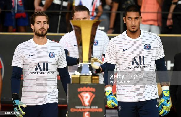 Paris SaintGermain's German goalkeeper Kevin Trapp and French goalkeeper Alphonse Areola arrive for the French Trophy of Champions football match...