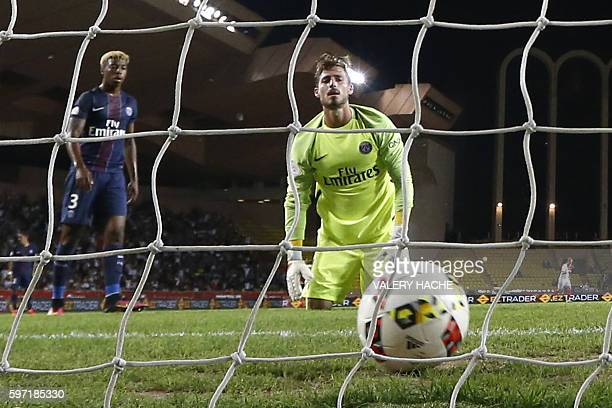 Paris SaintGermain's German goalkeeper Kevin Trapp looks on after Monaco's Brazilian defender Fabinho scores a goal during the French Ligue 1...