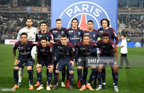 Paris SaintGermain's German goalkeeper Kevin Trapp Spain defender Yuri Berchiche Belgian defender Thomas Meunier Uruguayan forward Edinson Cavani...
