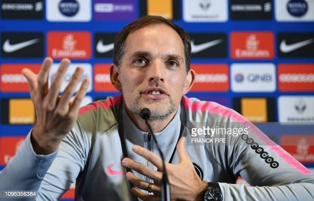 Paris SaintGermain's German head coach Thomas Tuchel addresses a press conference at the team's training grounds in SaintGermainenLaye west of Paris...