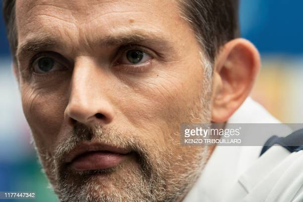 Paris Saint-Germain's German head coach Thomas Tuchel addresses a press conference at the Jan Breydel Stadium in Bruges on October 21 on the eve of...