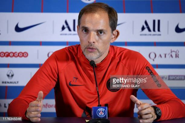 Paris SaintGermain's German head coach Thomas Tuchel gives a press conference on October 17 2019 at the club's training camp in SaintGermainenLaye...