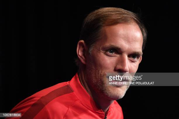 Paris SaintGermain's German head coach Thomas Tuchel looks on during a press conference at the Parc des Princes stadium in Paris on October 23 2018...