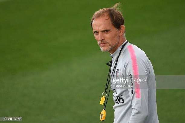 Paris SaintGermain's German headcoach Thomas Tuchel leads a training session of the Paris SaintGermain football team on August 24 2018 at the Camp...