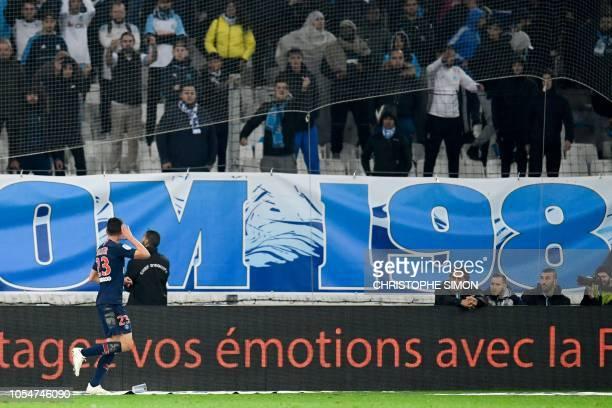 Paris SaintGermain's German midfielder Julian Draxler celebrates after scoring a goal during the French L1 football match between Olympique de...