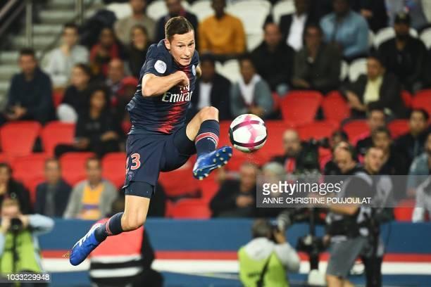 Paris Saint-Germain's German midfielder Julian Draxler controls the ball during the French L1 football match between Paris Saint-Germain and...