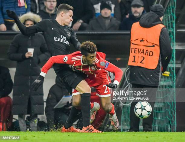 Paris SaintGermain's German midfielder Julian Draxler fouls Bayern Munich's French striker Kingsley Coman during the UEFA Champions League football...