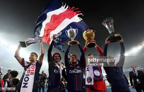 Paris SaintGermain's German midfielder Julian Draxler Paris SaintGermain's French midfielder Adrien Rabiot Paris SaintGermain's Brazilian defender...