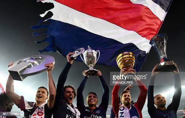 Paris Saint-Germain's German midfielder Julian Draxler, Paris Saint-Germain's French midfielder Adrien Rabiot, Paris Saint-Germain's Brazilian...
