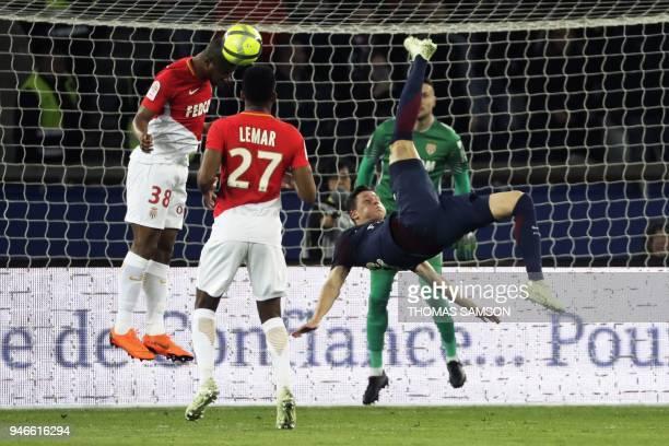 TOPSHOT Paris SaintGermain's German midfielder Julian Draxler scissor kicks the ball during the French L1 football match between Paris SaintGermain...