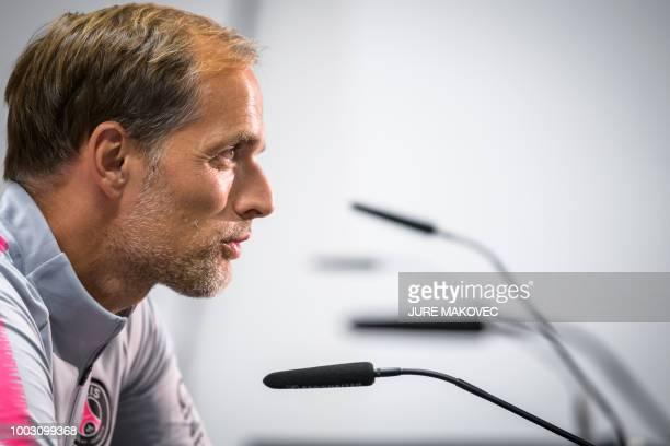 Paris SaintGermain's head coach Thomas Tuchel speaks during a press conference after the International Champions Cup football match Bayern Munich...