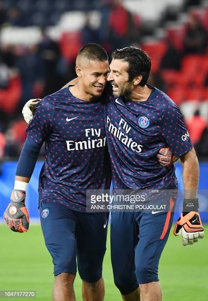 Paris SaintGermain's Italian goalkeeper Gianluigi Buffon and Paris SaintGermain's French goalkeeper Alphonse Areola are pictured prior to the French...