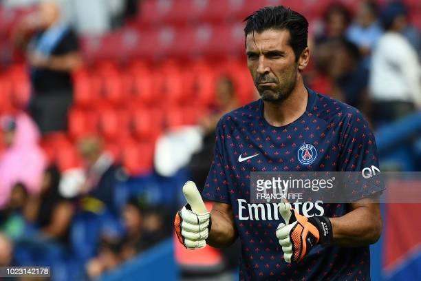 Paris SaintGermain's Italian goalkeeper Gianluigi Buffon is pictured ahead of the French L1 football match Paris SaintGermain vs Angers on August 25...