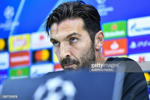 Paris SaintGermain's Italian goalkeeper Gianluigi Buffon looks on during a press conference at the San Paolo stadium in Naples on November 5 2018 on...
