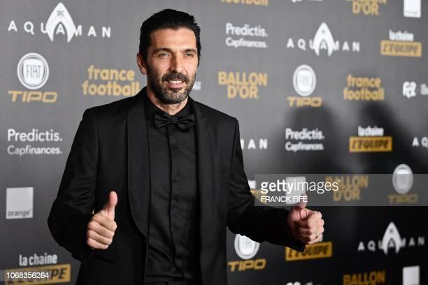 Paris SaintGermain's Italian goalkeeper Gianluigi Buffon poses upon arrival at the 2018 Ballon d'Or award ceremony at the Grand Palais in Paris on...