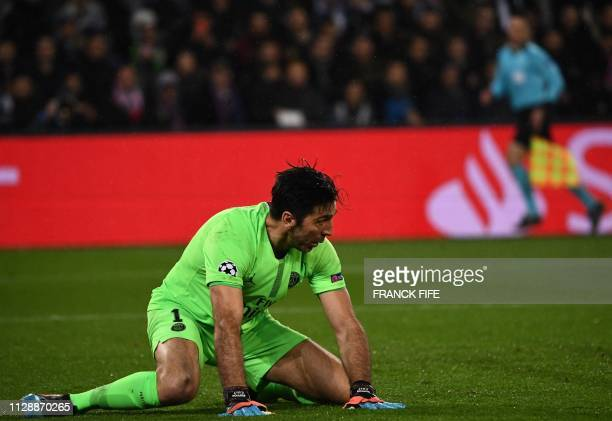 Paris SaintGermain's Italian goalkeeper Gianluigi Buffon reacts after conceded a goal during the UEFA Champions League round of 16 secondleg football...