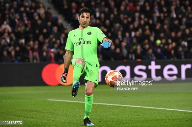 Paris SaintGermain's Italian goalkeeper Gianluigi Buffon reacts during the UEFA Champions League round of 16 secondleg football match between Paris...
