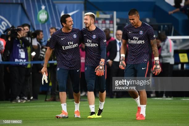 Paris Saint-Germain's Italian goalkeeper Gianluigi Buffon, Saint-Etienne's French goalkeeper Theo Vermot and Paris Saint-Germain's French goalkeeper...