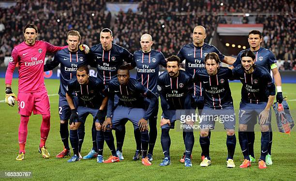 Paris SaintGermain's Italian goalkeeper Salvatore Sirigu English midfielder David Beckham Swedish forward Zlatan Ibrahimovic French defender...