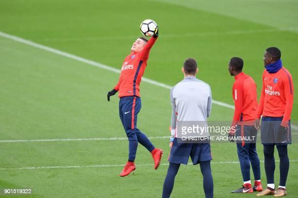 Paris SaintGermain's Italian midfielder Marco Verratti catches the ball during a training session of French L1 football club Paris SaintGermain in...