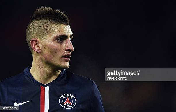 Paris SaintGermain's Italian midfielder Marco Verratti looks on during the French L1 football match between Paris SaintGermain and Rennes at the Parc...