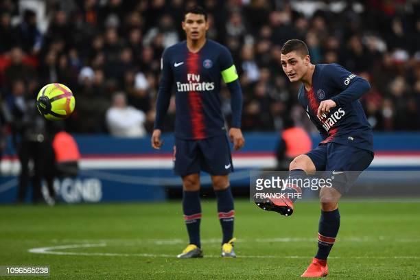 Paris Saint-Germain's Italian midfielder Marco Verratti passes the ball during the French L1 football match between Paris Saint-Germain and FC...