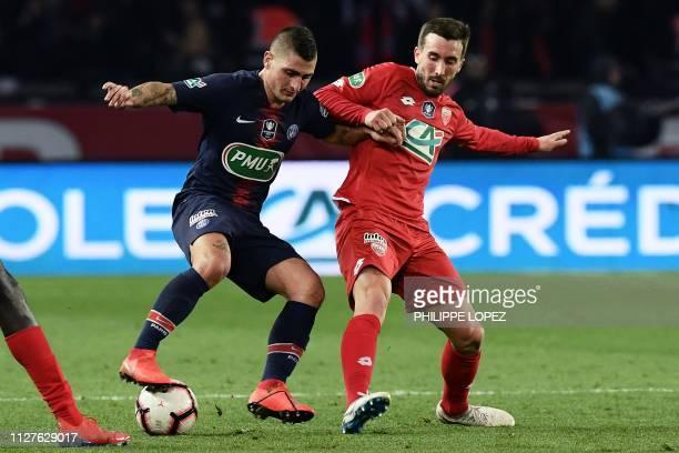 Paris SaintGermain's Italian midfielder Marco Verratti vies for the ball with Dijon's French midfielder Romain Amalfitano during the French Cup...